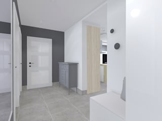 Projekt wnętrza mieszkania 70 m2 w Krakowie: styl , w kategorii Korytarz, przedpokój zaprojektowany przez Lidia Sarad