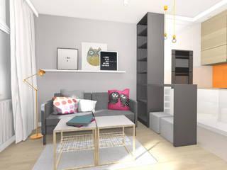 Projekt wnętrza mieszkania 30 m2 w Krakowie: styl , w kategorii Salon zaprojektowany przez Lidia Sarad
