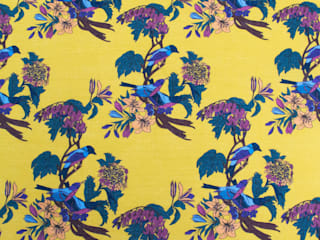Golden Bunting Birds Fabric:   by Occipinti
