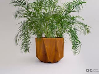Prisme Large Concrete Planter Adam Christopher Design 花園植物盆栽與花瓶 水泥 Orange