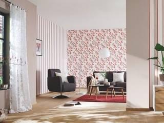 4 Duvar İthal Duvar Kağıtları & Parke 现代客厅設計點子、靈感 & 圖片