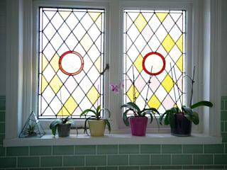 Original Stained Glass Window :  Bathroom by Blue Cottini