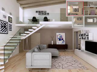 Soppalco in affaccio sull'ampio soggiorno: Soggiorno in stile  di RenderLab