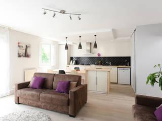 Rénovation d'un appartement à Fontaines sur Saone Marion Lanoë Salon moderne