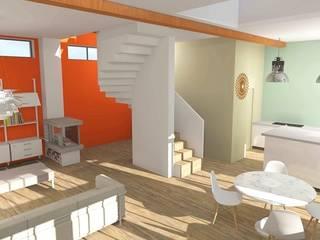 Réhabilitation d'une grange en habitation: Salon de style  par SPICE Architecture d'intérieur