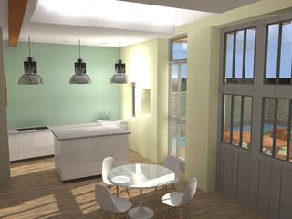 Réhabilitation d'une grange en habitation: Cuisine de style  par SPICE Architecture d'intérieur