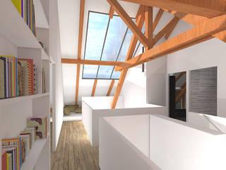 Réhabilitation d'une grange en habitation: Couloir et hall d'entrée de style  par SPICE Architecture d'intérieur