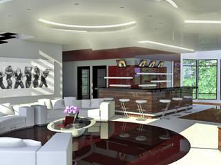 Дизайн проект загородного дома: Гостиная в . Автор – 3designik, Минимализм