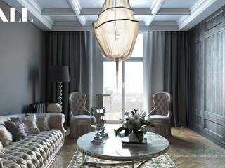 """Квартира для молодой пары, ЖК """"Царская Столица"""" Гостиная в классическом стиле от ДИЗАЙНЕР ИНТЕРЬЕРА САНКТ-ПЕТЕРБУРГ Классический"""