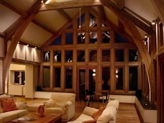 Oak-framed extension: classic Living room by Sam Coles Lighting