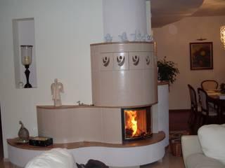 Kominek kaflowy półokrągły: styl , w kategorii  zaprojektowany przez Piotrowski-Kominki