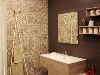 zona lavabo Pareti & Pavimenti in stile moderno di A.SAnnino & L.Sagliocco ARCHITETTI ASSOCIATI Moderno