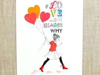"""Affiche illustrée """"Love is always the reason why..."""" par Akabé Paris:  de style  par Akabé"""