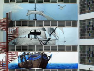 MURAL MARINO EN  PATIO INTERIOR: Casas de estilo  de Pintura Mural Barcelona
