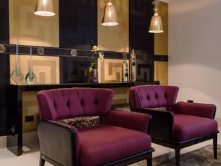 Detalhe sala de estar: Salas de estar  por Helen Granzote Arquitetura e Interiores