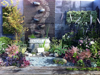 contemplation corner border with water feature Juniperhouse アジア風 庭