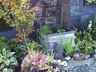 contemplation corner border with water feature Juniperhouse Asian style garden