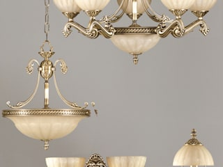 Luminarias de fundición de latón.: Comedor de estilo  de Vidrios Granada SL