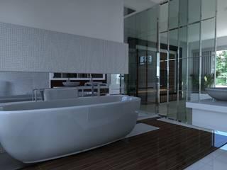 Дизайн проект загородного дома: Ванные комнаты в . Автор – 3designik, Минимализм