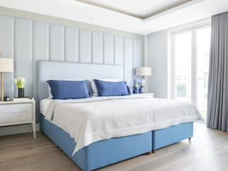 Upholstered headboards in interior design Mille Couleurs London BedroomBeds & headboards