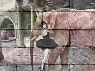 Sureales Ensemble Louise Brooks mit Elefant:  Wände von Andreas Fritsch