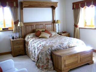 oak bedroom in traditional style with a modern twist by one-off interiors
