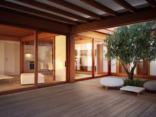 Render 3d di una vista dell'atrio: Giardino in stile  di 3dforme
