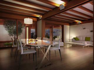 Render 3d di una vista interna del salone: Soggiorno in stile  di 3dforme