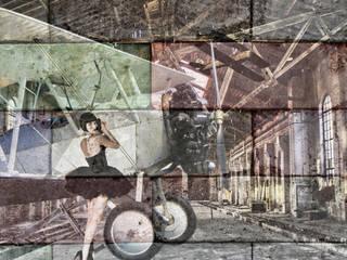 Sureales Ensemble Louise Brooks mit Doppeldecker:  Wände von Andreas Fritsch