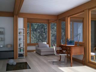 Render 3d di una seconda vista del salone: Soggiorno in stile  di 3dforme
