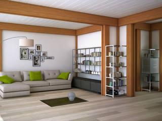 Render 3d di una terza vista del salone: Soggiorno in stile  di 3dforme