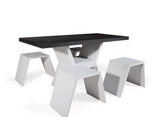 Mobilier design en béton composé d'une table et de ses bancs, sobre et raffiné à la fois ! Brin de Jardin JardinMeubles
