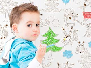 Ausmaltapete Party in the woods:  Kinderzimmer von Designstudio DecorPlay