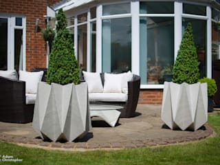Kronen 65 Flower Pot in Warm Grey Concrete:  Garden  by Adam Christopher Design