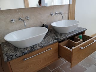 HAND BUILT BEDROOM AND EN-SUITE CABINETRY:  Bathroom by COOPER BESPOKE JOINERY LTD