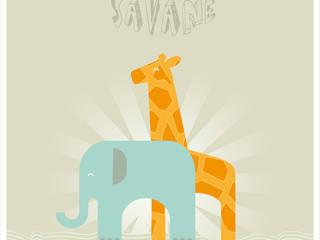 Affiche Savane A3:  de style  par Une Pointe d'épices