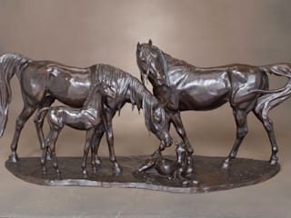 Emirates Arab Mares and Foals: classic  by Gill Parker sculpture, Classic