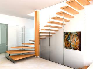 MISTRAL - Gewendelte Holztreppe mit Glaswand - bei Tag - RENDERING:  Flur & Diele von homify