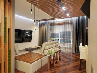 1 комнатная квартира студия для молодого человека: Гостиная в . Автор – D+ | интерьерное бюро