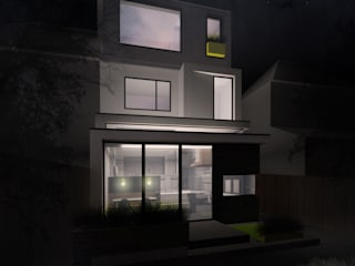 Broxholm Road - Night render view of complete project from garden: modern Houses by Selencky///Parsons