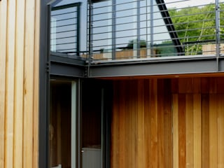 Veddw Farm, Monmouthshire Modern balcony, veranda & terrace by Hall + Bednarczyk Architects Modern
