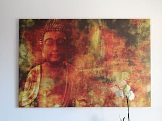 Drucke von Mixed Media Kunst - Malerei und Photography Asiatische Schlafzimmer von Kristin Thielemann Asiatisch
