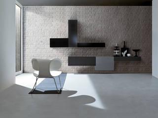 Un living minimale ma di grande effetto con SPALATO BRICK di VALPIETRA®: Soggiorno in stile in stile Moderno di VALPIETRA®