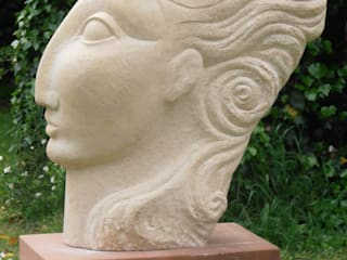 Stone Head:  Garden by Lettering & Sculpture