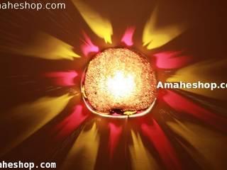 Lampe en calebasse:  de style  par Amahe Luminaires Artistiques en Calebasse  (luminaire therapeutique)