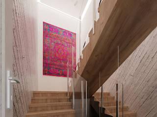 Projekt mieszkania 118m2 w Villa lux w Dąbrowie Górniczej Minimalistyczny korytarz, przedpokój i schody od Ale design Grzegorz Grzywacz Minimalistyczny