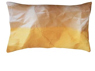 MELLO YELLOW CRINKLED PAPER PRINT CUSHION:   by Suzanne Goodwin