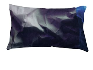 INDIGO CRINKLED PAPER PRINT CUSHION:   by Suzanne Goodwin
