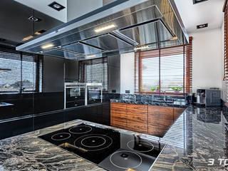 Meble na wymiar do kuchni z czarnego MDF lakierowanego i forniru od 3TOP Nowoczesny