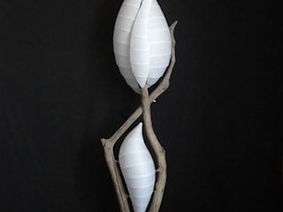 lampadaire double éclairage papier japonais:  de style  par Bois Perdus